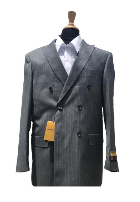 Mens Wool Pick Lapel Double Pinstripe Blazer Sport Coat