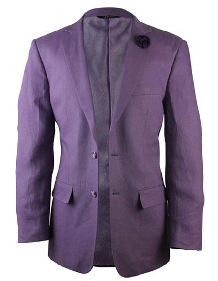 Alberto Nardoni Purple Two Button Linen Fashionable Blazer for men