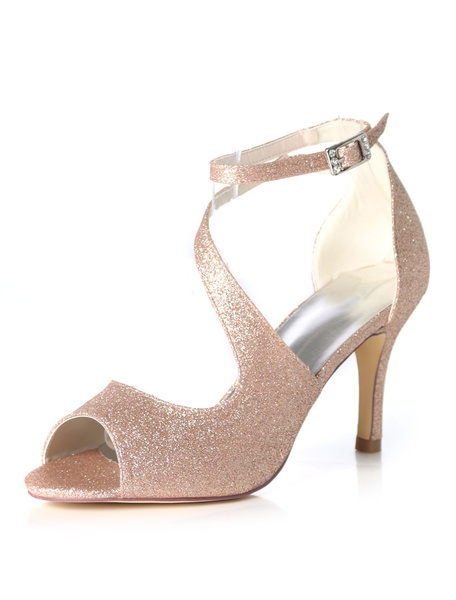 Milanoo Glitter Prom Shoes High Heel Wedding Shoes Purple Peep Toe Strappy Bridal Shoes