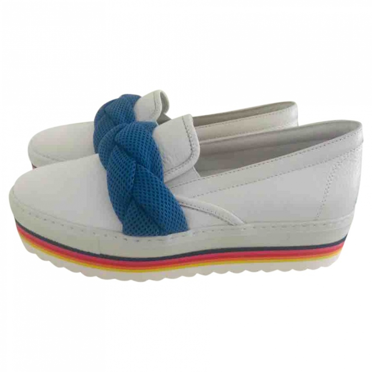 Non Signé / Unsigned \N White Leather Flats for Women 37 EU