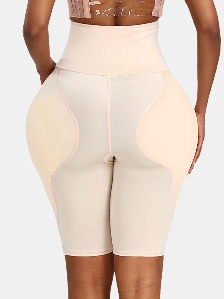 Plus Size Women Tummy Control Plump Crotch Butt Lifter Elastic High Waist Panty Shapewear With Pad