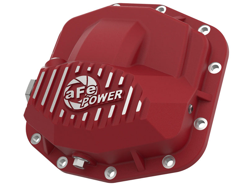aFe POWER Pro Series Front Differential Cover Red w/ Machined Fins