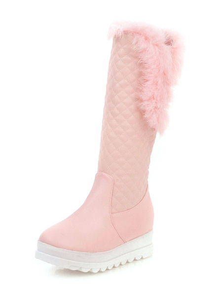 Milanoo Sweet Lolita Boots PU Leather Furry Diamond Pattern Round Toe Pink Lolita Footwear