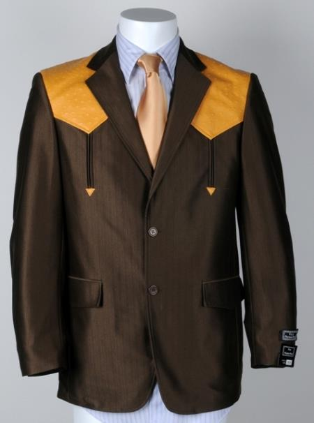 Mens Western Cowboy Suit Traje Vaquero Polyester Suit Set Brown Mango