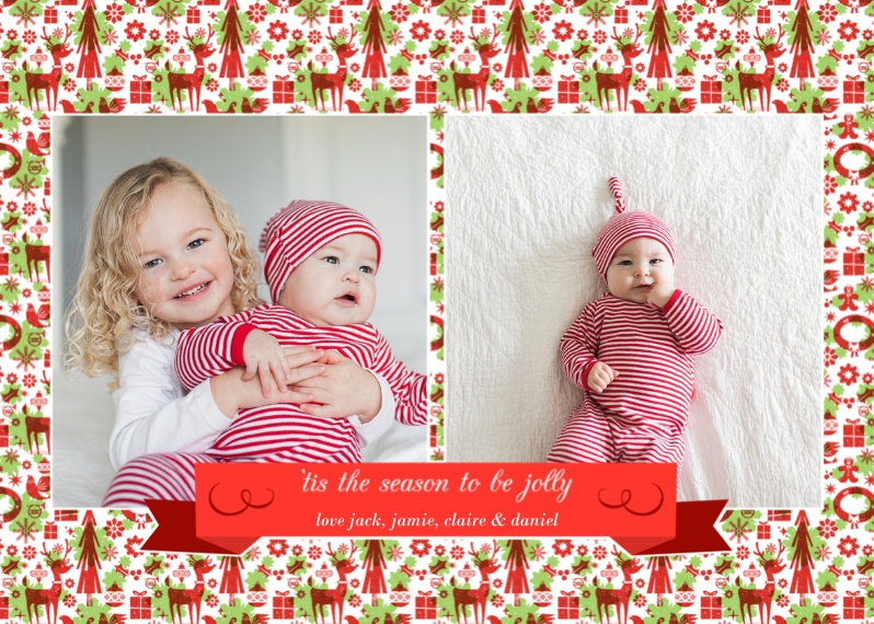 Christmas Photo Cards Mail-for-Me Premium 5x7 Folded Card , Card & Stationery -Tis the Season Ribbon