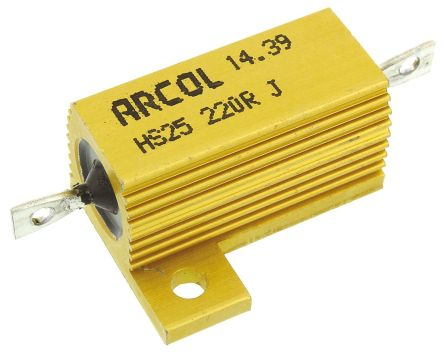 Arcol HS25 Series Aluminium Housed Axial Wire Wound Panel Mount Resistor, 220Ω ±5% 25W (25)