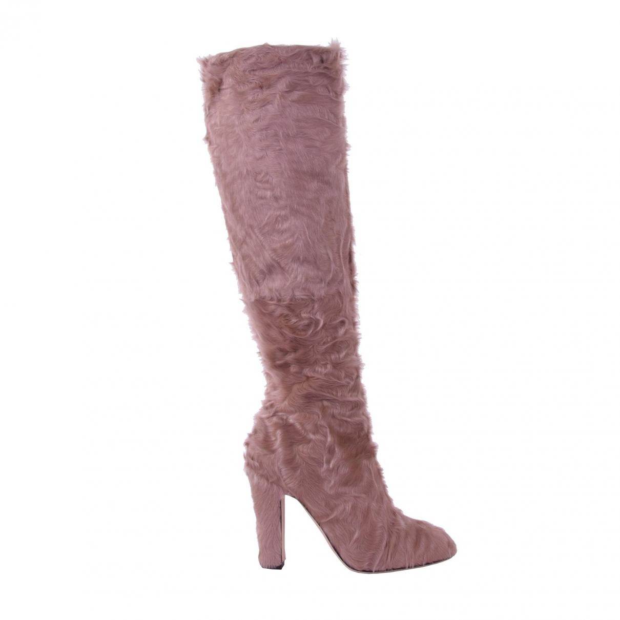 Dolce & Gabbana - Bottes   pour femme en fourrure - beige
