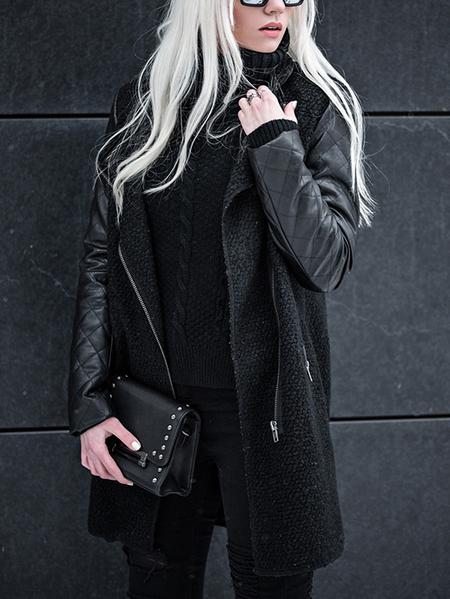 Yoins Black Pocket Design Patchwork Stand Collar Long Sleeves Jacket