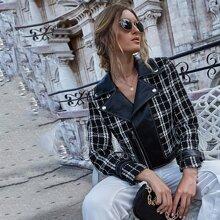 Tweed Jacke mit Karo Muster, Reissverschluss vorn und Reveskragen