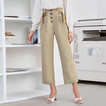 Hose mit geradem Beinschnitt, Schnalle und Papiertaschen auf Taille