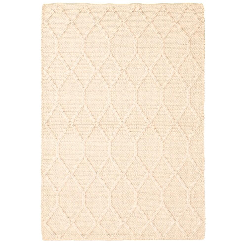 ECARPETGALLERY  Braid weave Sienna Ivory Wool Rug - 5'1 x 7'6 (Ivory - 5'1 x 7'6)