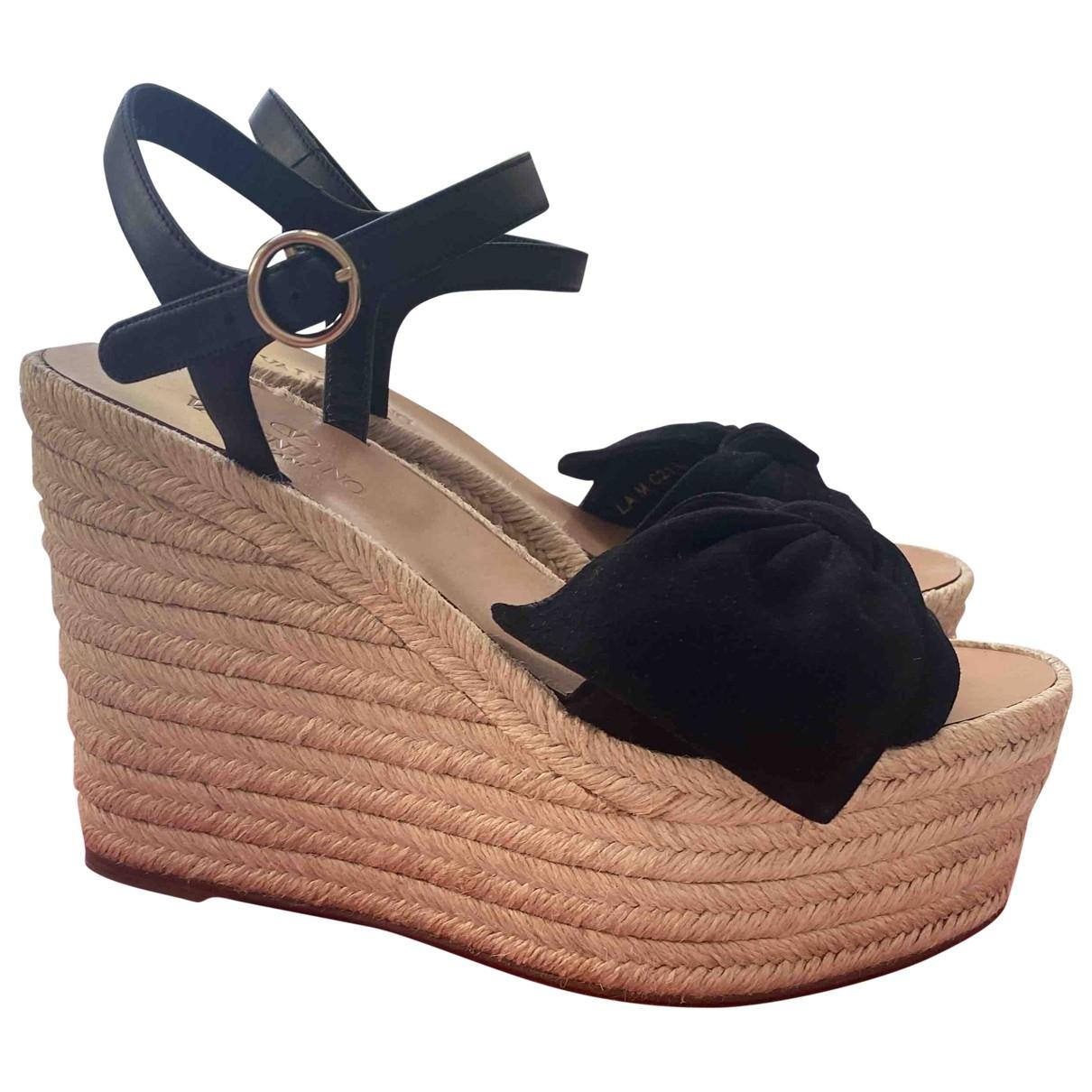 Valentino Garavani \N Black Suede Sandals for Women 37 EU