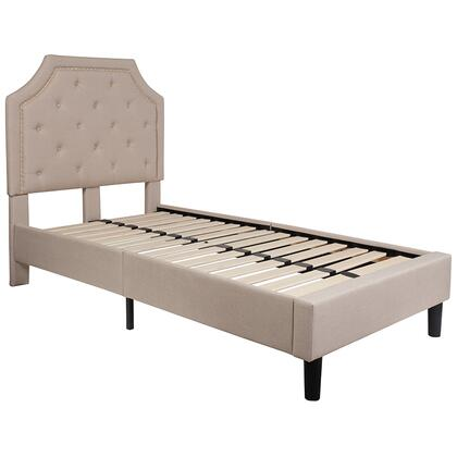 Brighton Collection SL-BK4-T-B-GG Twin Size Platform Bed with Gold Nailhead Trim  Transitional Style  Wood Support Slats  Center Support Metal Leg