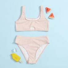 Girls Striped Rib Cut-out Bikini Swimsuit