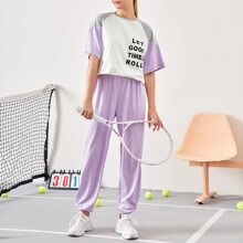 Slogan Graphic Striped Side Raglan Sleeve Tee and Joggers Set