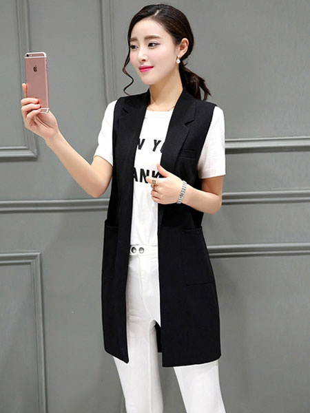 Milanoo Black Long Vest Slim Fit Waistcoat for Women