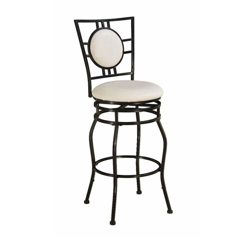 Metal Adjustable Stool with Swivel Seat and Backrest, Black and Cream (Adjustable - Single - Cream)