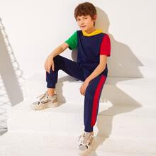 Boys Colorblock Hooded Top & Striped Side Joggers Set