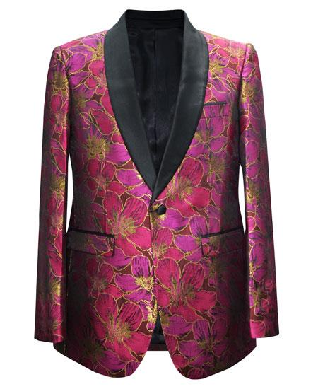 Men's Fuchsia 1 Button Paisley Pattern Matching Fashion Bow Tie