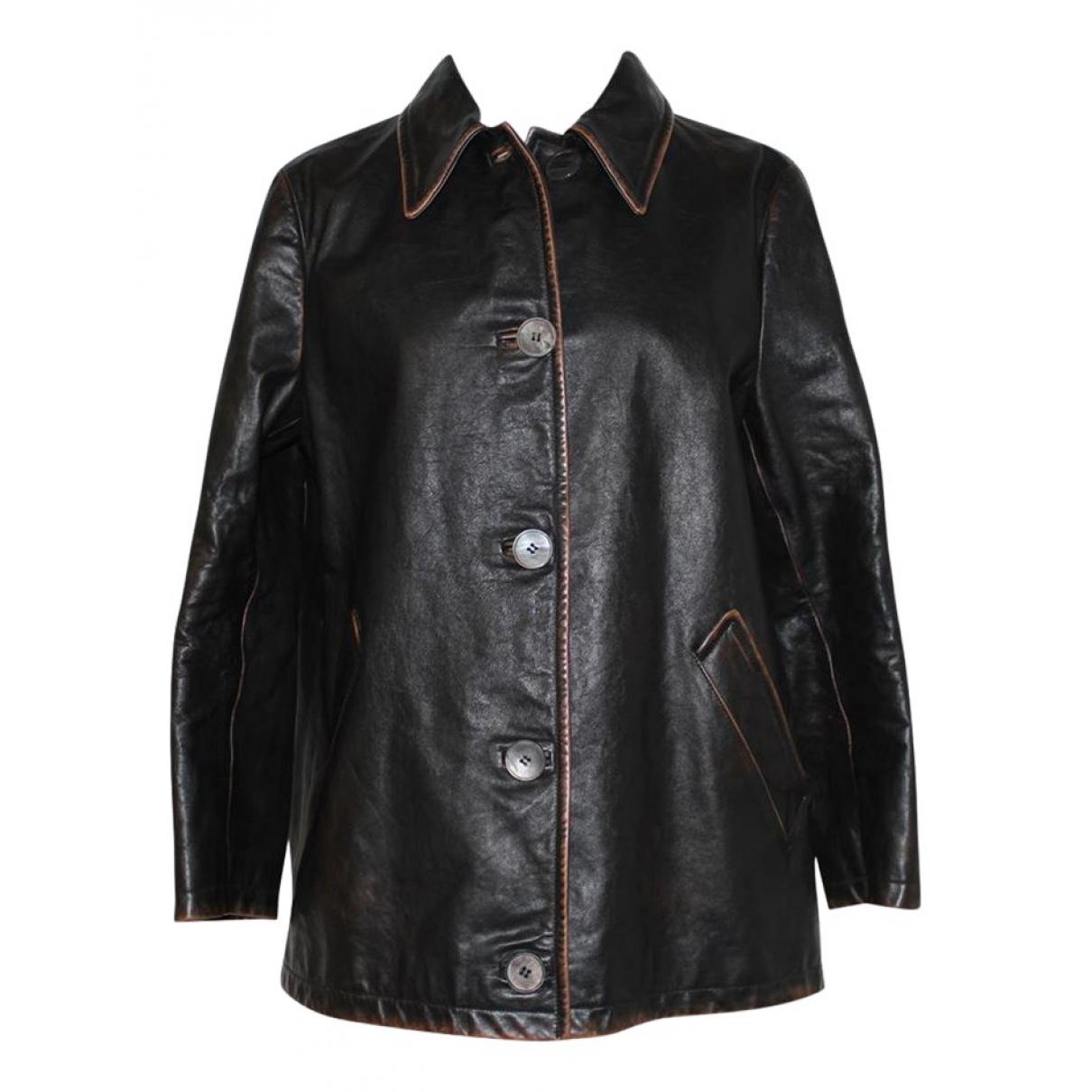 Prada N Brown Leather jacket for Women 44 FR