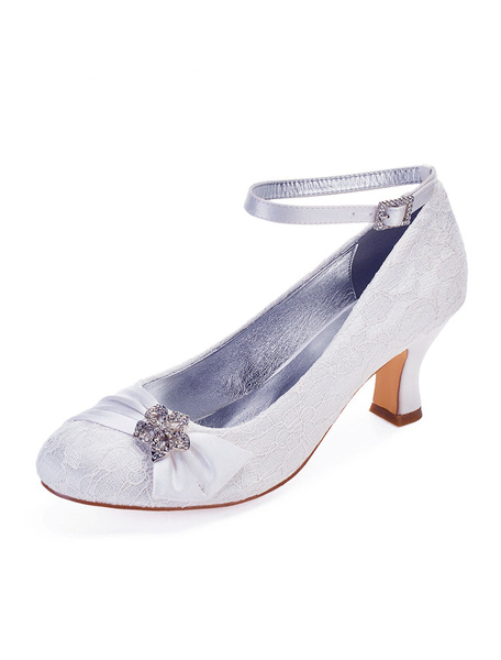 Milanoo Ivory Wedding Shoes Lace Round Toe Rhinestones Ankle Strap Bridal Shoes