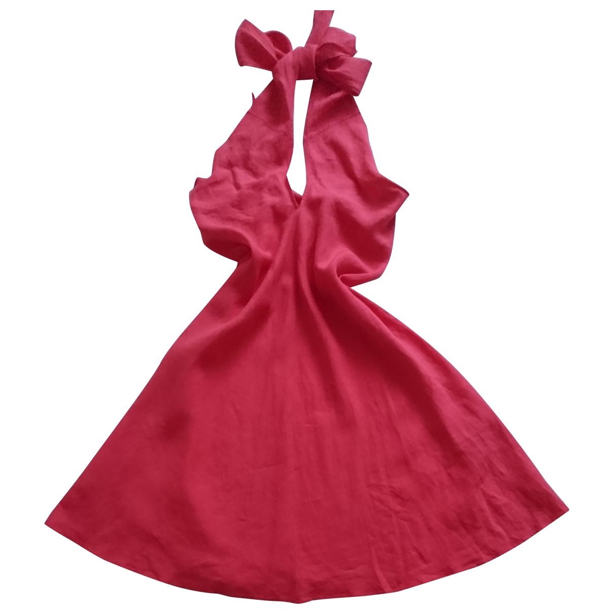 Non Signe / Unsigned \N Kleid in  Rosa Leinen
