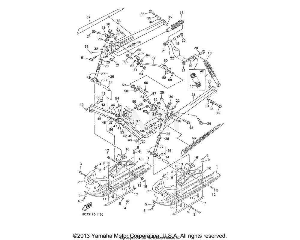 Yamaha OEM 8CR-2384E-20-00 ARM, CONTROL 1 | (USA)