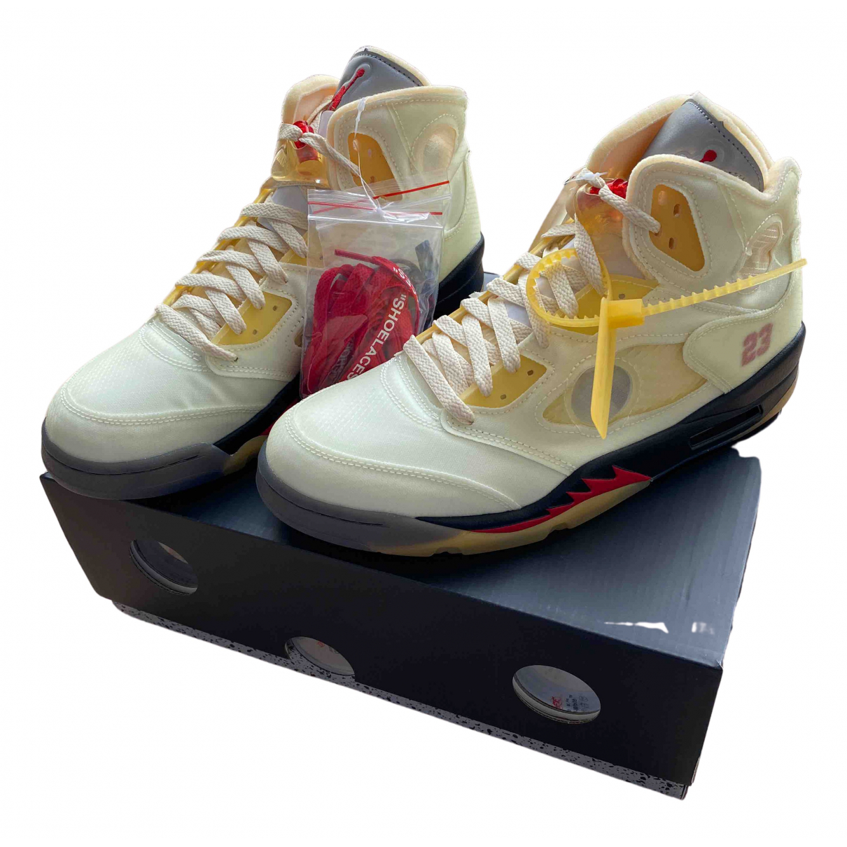 Nike X Off-white - Baskets Jordan 5 pour homme en cuir - beige