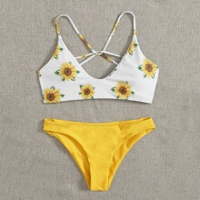 Sunflower Print Bikini Swimsuit