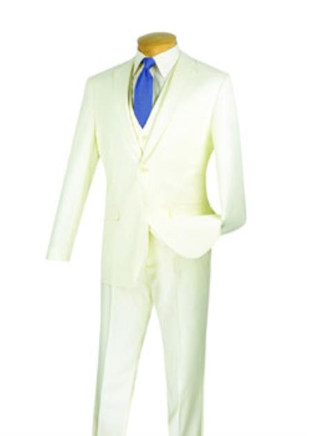 Men's Ivory 3 Piece 1 Wool Executive Suit - Narrow Leg Pants