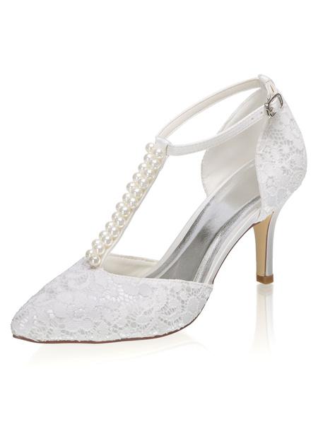 Milanoo Zapatos de novia de saten 8cm Zapatos de Fiesta Zapatos Marfil de tacon de stiletto Zapatos de boda de puntera puntiaguada con perlas