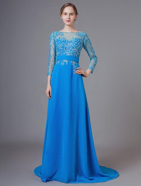 Milanoo Vestidos de madre de la novia Gasa azul Encaje Apliques Vestidos formales de manga larga con tren