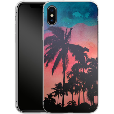 Apple iPhone X Silikon Handyhuelle - Palm Trees at Sunset von Mark Ashkenazi