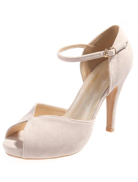 Milanoo Sexy Ecru White Buttons Velvet Pointy Toe Stiletto Heels Shoes