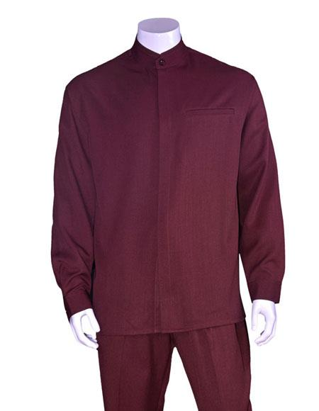Men's Long Sleeve Mandarin Collar Burgundy Casual Walking Suit