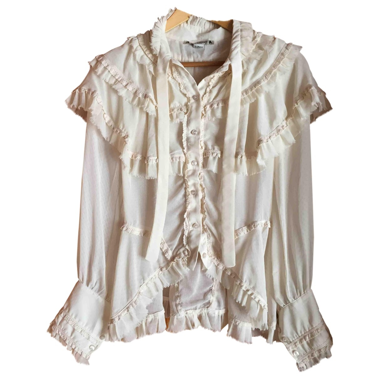 Non Signe / Unsigned Hippie Chic Top in  Ecru Synthetik