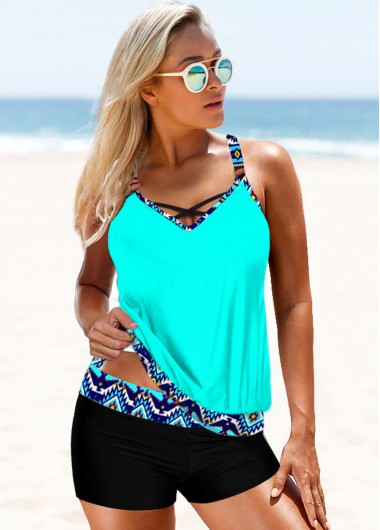 Cyan Tribal Print Strappy Back Tankini Set - S