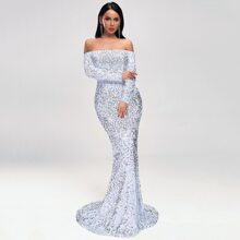 Off Shoulder Sequin Fishtail Prom Dress