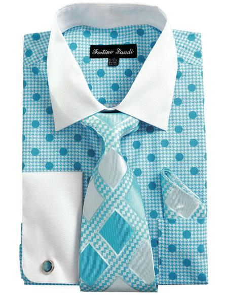 Mens White Collared French Cuffed Blue Dress Shirt & Tie Set