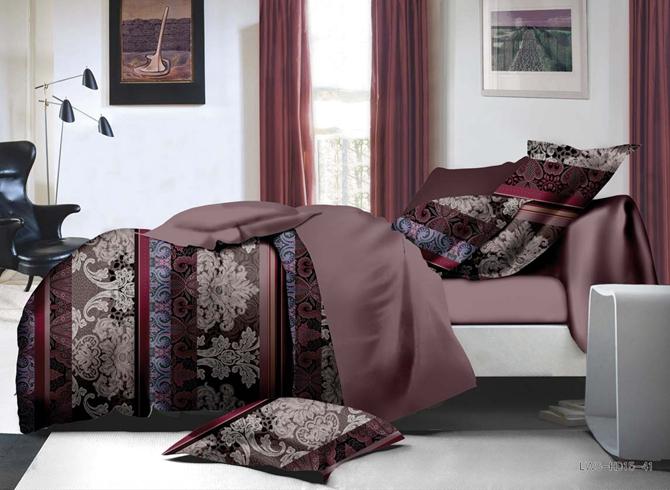 Elegant Jacobean and Stripe Print 4-Piece Polyester Duvet Cover Sets