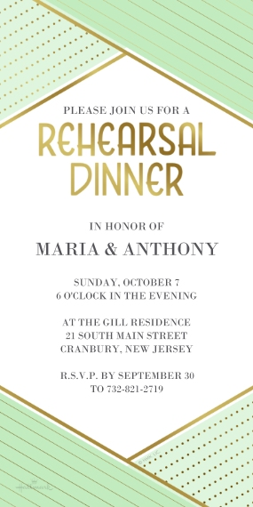 Rehearsal Dinner Invites 4x8 Flat Card Set, 85lb, Card & Stationery -Mint & Gold Rehearsal Dinner