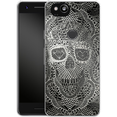 Google Pixel 2 Silikon Handyhuelle - Lace Skull von Ali Gulec