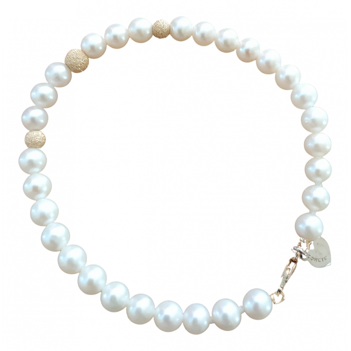 Non Signe / Unsigned \N Armband in  Weiss Gelbgold