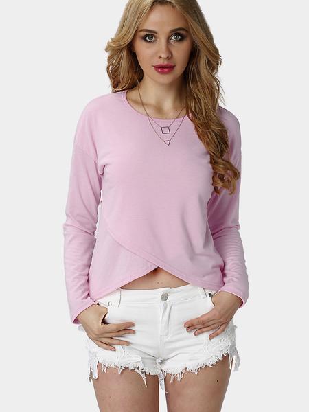 Yoins Pink Casual Layered Irregular Top