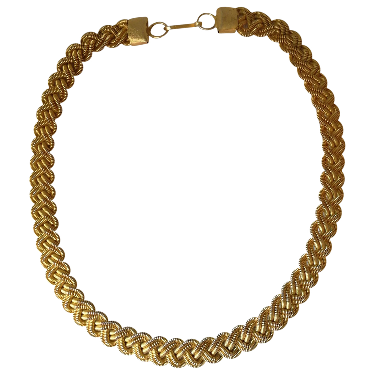 Non Signé / Unsigned  Maille Américaine Gold Metal necklace for Women N