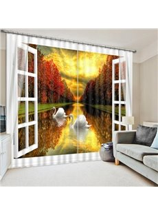 3D White Swan Swimming in Peaceful River with Red Trees Printed Blackout Custom Curtain