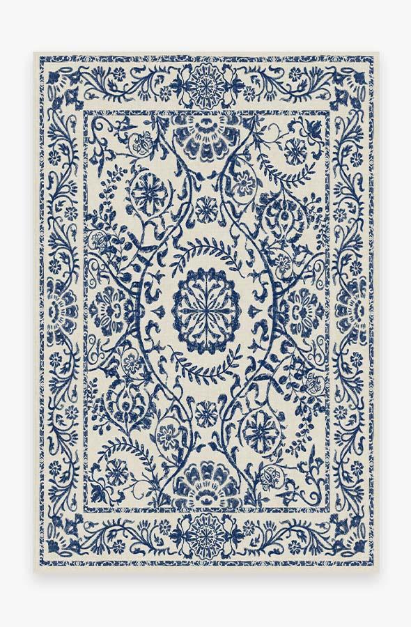 Washable Rug Cover | Delphina Delft Blue Rug | Stain-Resistant | Ruggable | 6'x9'