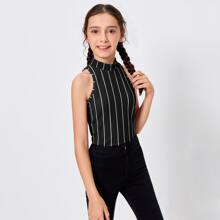 Girls Mock-Neck Striped Tank Top
