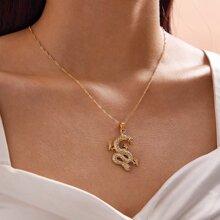 1 Stueck Halskette mit Strass und Drachen Anhaenger
