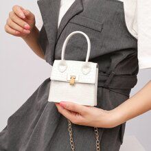 Mini Croc Embossed Satchel Bag